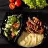 Телятина с хреном и горчицей с картофельным пюре и с салатом из сезонных овощей Вареники