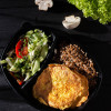 Бризоли куриные, гречневая каша с луком и грибами с салатом из сезонных овощей Вареники