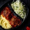 Котлета рыбная с картофельным пюре и с салатом из сезонных овощей Вареники