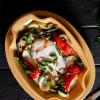 Куриное филе с овощами - гриль и творожно-сливочным соусом Вареники