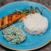 Стейк из семги со шпинатом, сливочным рисом и сырным соусом Ростерия Грифель