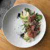 Салат с прошутто, авокадо, сыром Дор Блю, помидорами Черри и грушей MAISON