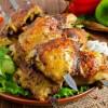 Шашлык из куриных бёдер на лаваше с соусом Сацебели UMAMI
